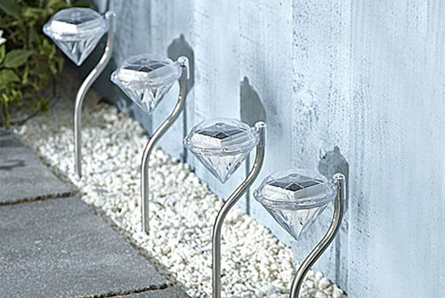 Diamond Effect Garden Solar Light - 4 Pack