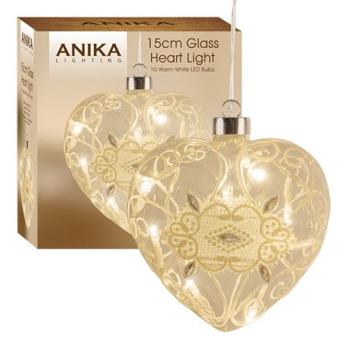 Decorative LED Light Up Glass Heart