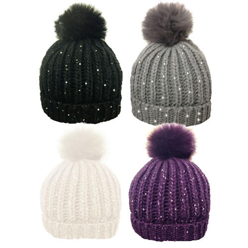 Ladies winter bobble hat