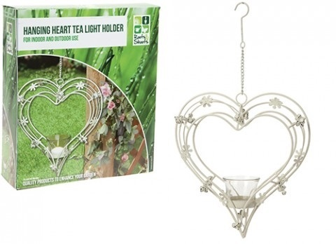 CREAM METAL HANGING HEART  GARDEN CANDLE HOLDER