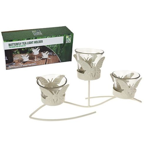 CREAM TRIPLE BUTTERFLY GARDEN  CANDLE HOLDER