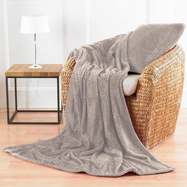 Chevron Design Microfibre Blanket Throws