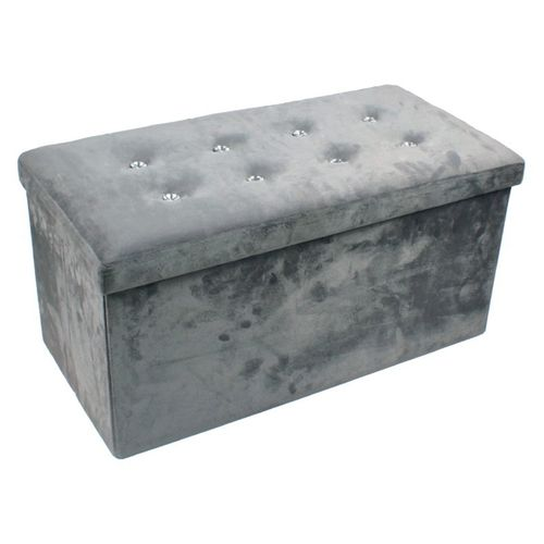 Large Diamante Faux Suede Ottoman
