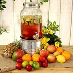 Mason Jar Drinks Dispenser with Ice Bucket Stand