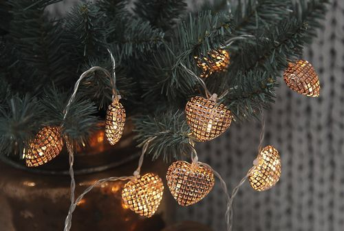 10 Metal Copper Heart Lights