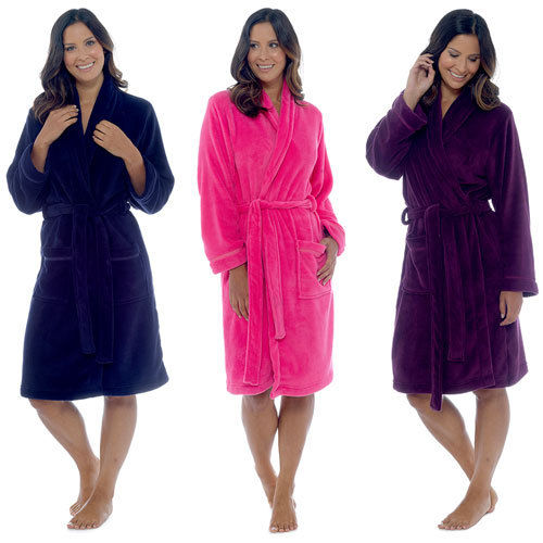 LADIES CORAL SOFT FLEECE DRESSING GOWN