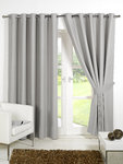 Faux Silk Blackout Lined Eyelet Curtains - 6 Colours