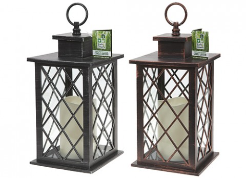 ORNATE GARDEN LED FLICKERING  CANDLE LANTERN