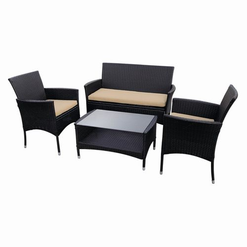 Rattan Styled Table And Chair Set - 4 Piece
