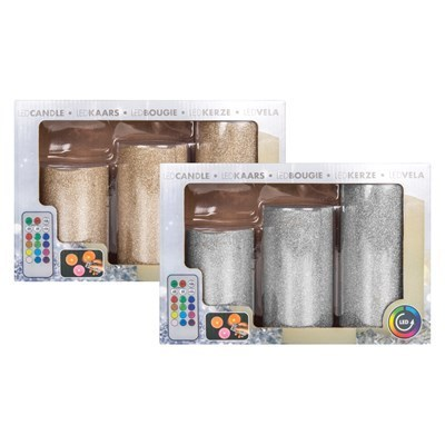 LED Glitter Pillar Candles - 3 Pack