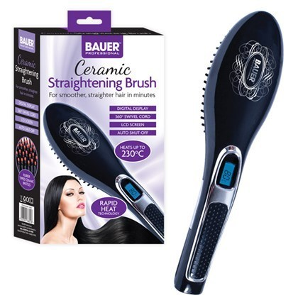 Hair Brush Straightener - Black
