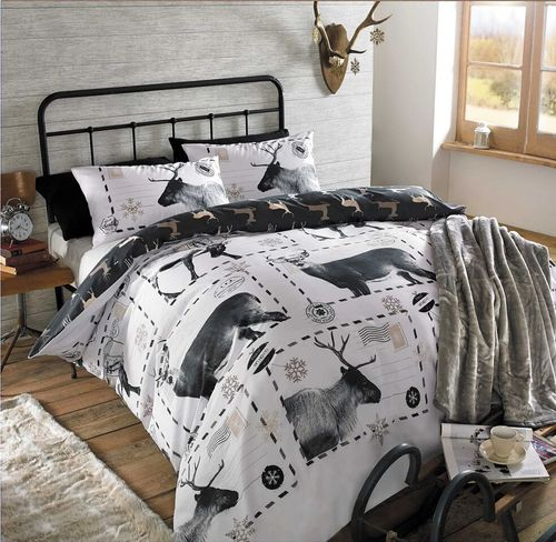 Luxurious Reindeer Duvet Set Black