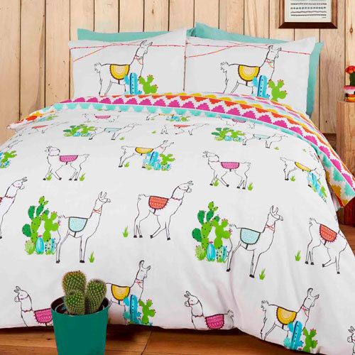 STUDIO ART HAPPY LLAMAS DUVET SET REVERSIBLE