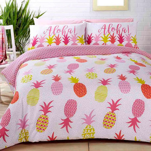 STUDIO ART ALOHA PINEAPPLES DUVET SET REVERSIBLE