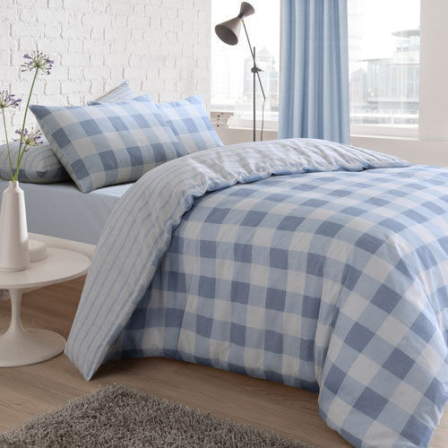 GINGHAM CHECK REVERSIBLE DUVET SET
