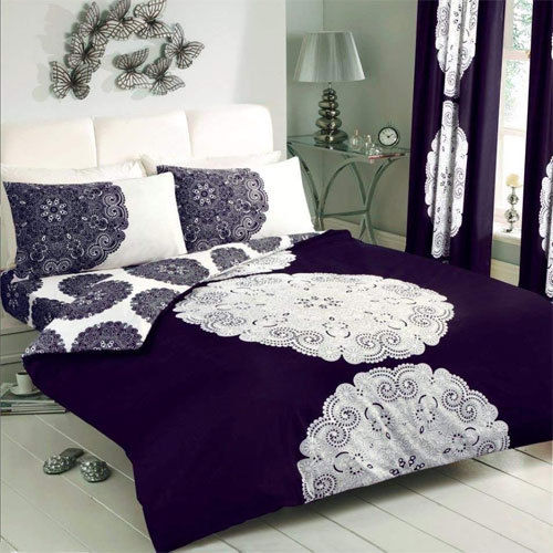 MANHATTAN AUBERGINE/CREAM DUVET SET
