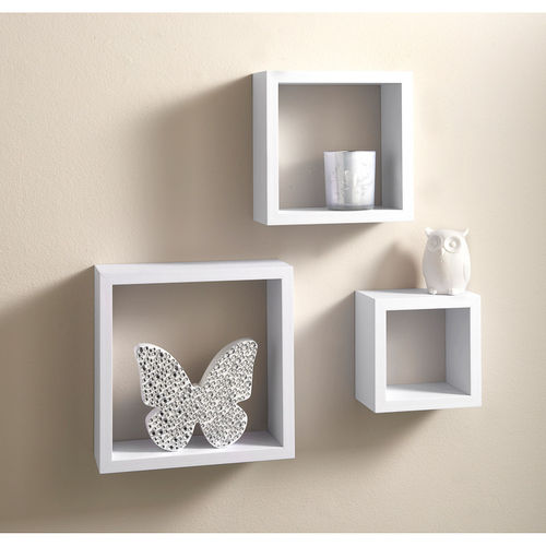 3 White Floating Cube Shelves