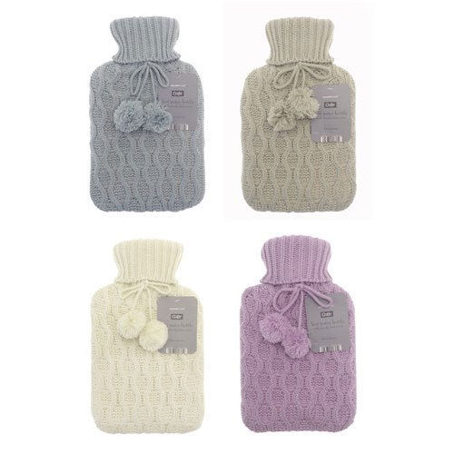 CHUNKY KNIT HOT WATER BOTTLE COVER WITH POM POM