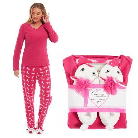 LADIES UNICORN FLEECE PYJAMA & SLIPPERS SET HOT PINK