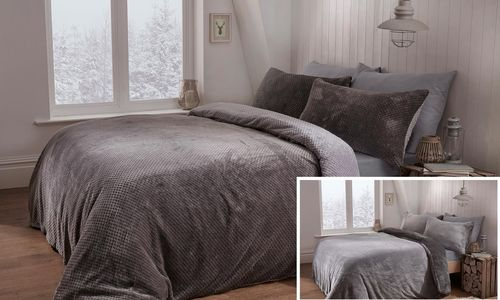 Pieridae Reversible Waffle Fleece Duvet Cover Set